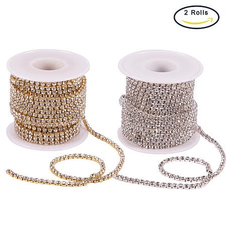 BENECREAT 2 Rolls 10 Yard 3mm Crystal Rhinestone Close Chain Clear Trimming Claw Chain Sewing Craft about 2330pcs Rhinestones - Crystal (Silver & Gold Bottom)