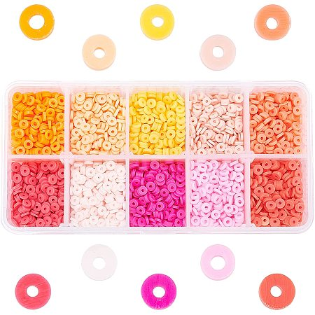 Pandahall Elite 3800pcs 4mm Clay Disc Beads, Orange Series Colors Round Polymer Clay Chip Beads Heishi Vinyl Disc Beads Clay Chip Spacer Beads for Summer Jewelry Craft Making