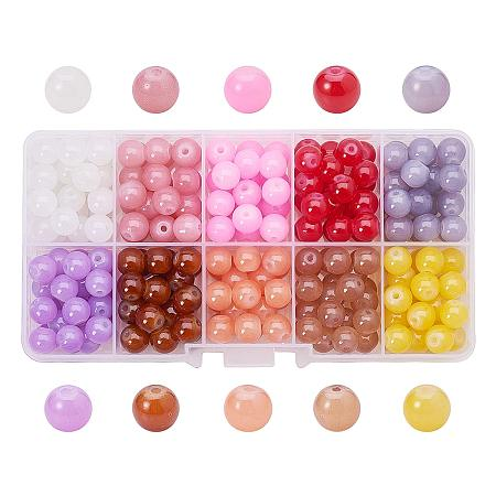 ARRICRAFT 1 Box (about 200pcs) 10 Color 8mm Imitation Jade Crackle Glass Round Beads Assortment Lot for Jewelry Making