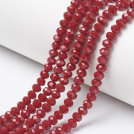 Arricraft Opaque Solid Color Glass Beads Strands, Faceted, Rondelle, FireBrick, 4x3mm, Hole: 0.4mm, about 130pcs/strand, 16.54 inches(42cm)