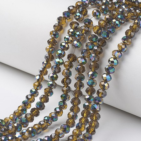 ARRICRAFT Electroplate Transparent Glass Beads Strands, Half Multi-color Plated, Faceted, Rondelle, Goldenrod, 4x3mm, Hole: 0.4mm; about 130pcs/strand, 16.54 inches(42cm)