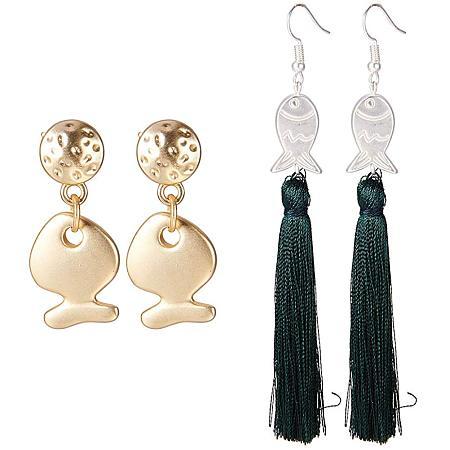 SUNNYCLUE 2 Pairs Mixed Color Fish Shape Tassel Dangle Stud Earrings for Women Girls Nickel Free