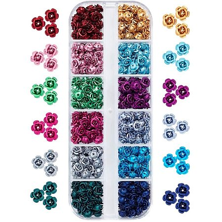 PandaHall Elite 360pcs 12 Color Aluminum Rose Flower Tiny Metal Spacer Beads for Jewelry Making DIY Craft, 6mm in Diameter
