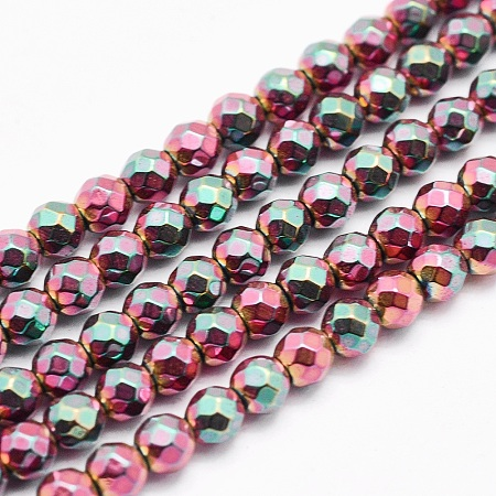 ARRICRAFT Electroplate Non-magnetic Synthetic Hematite Beads Strands, Faceted, Round, Burgundy Plated, 4mm, Hole: 1mm; about 95pcs/strand, 15 inches(38cm)