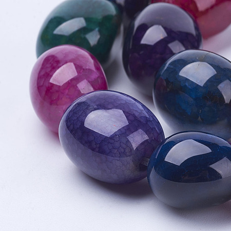NBEADS Natural Agate Bead Strands, Dyed, Oval, Colorful, 16~20x13~17mm, Hole: 2mm; about 20~21pcs/strand, 14.9