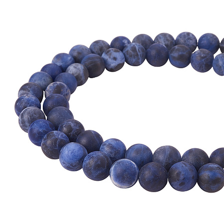 PandaHall Elite 8mm Frosted Natural Sodalite Bead Strands Round Loose Beads Approxi 15 inch 47pcs 1 Strand for Jewelry Making