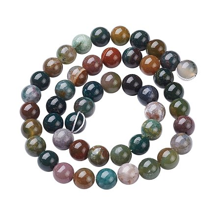 NBEADS 10 Strands 8mm Round Agate Natural Indian Gemstone Loose Beads Strands, Gemstone Beads for Jewelry Making DIY, 15-16 Inch