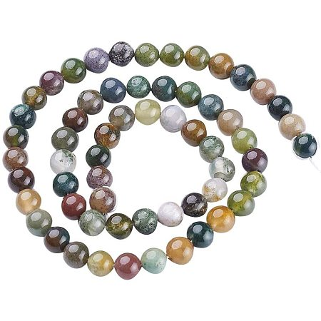 Pandahall Elite 10 Strands 6mm Natural Indian Agate Gemstone Round Loose Stone Beads for Jewelry Making 15.5