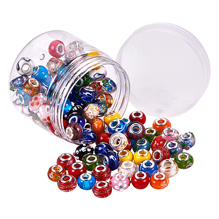 PandaHall Elite 100pcs 20 Styles Lampwork European Beads with Silver Tone Brass Cores Rondelle Beads for Bracelet & Necklace DIY Jewelry Making