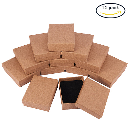BENECREAT 12 Pack Brown Small Size Kraft Rectangle Cardboard Jewelry Boxes for Jewelry Set 3.5x2.7x1 Inch