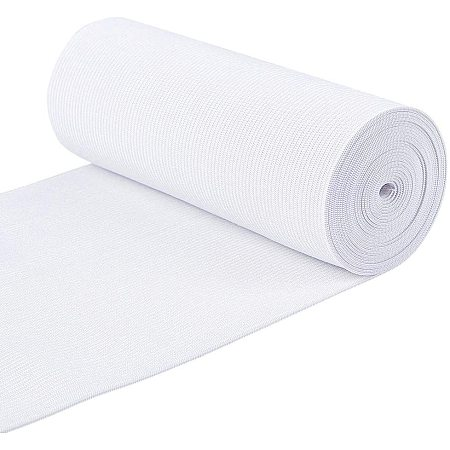 BENECREAT 3.3 Yard/3m 6 Inch Wide Flat Elastic Band White Heavy Stretch Knit for Garment Sewing Project
