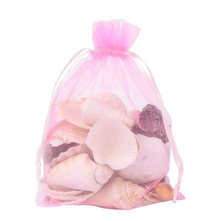 ARRICRAFT 100 PCS 5x7 inch Pink Organza Drawstring Bags Party Wedding Favor Gift Bags