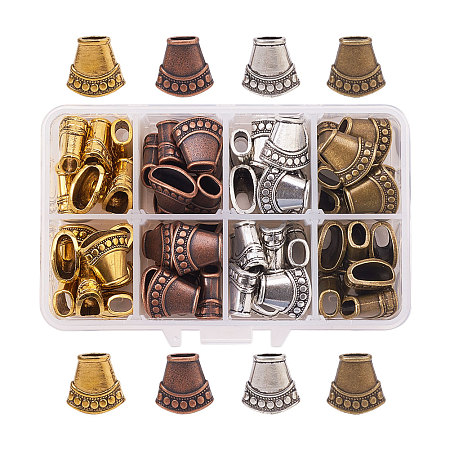 PandaHall Elite 15.5x16x9mm Multicolor Tibetan Style Alloy Cones Bead Caps Cover for Jewelry Making, about 64pcs/box