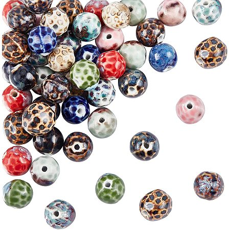 NBEADS 60 Pcs Spacer Beads, Porcelain Beads Round Beads Craft Beads for DIY Jewelry Craft Making