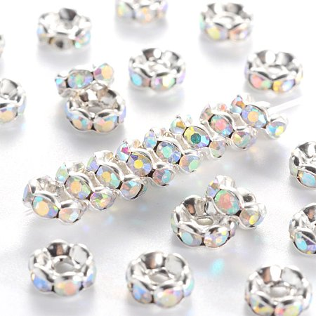 NBEADS 100pcs/bag Grade A Brass Rhinestone Spacer Beads, Beads, Clear White, with AB Color Rhinestone, Silver Metal Color, Nickel Free