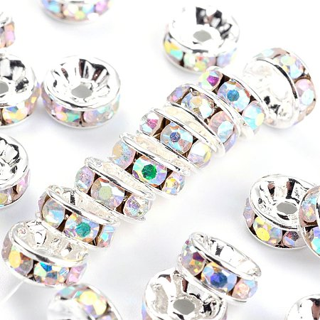 NBEADS 100pcs Grade A Rhinestone Spacer Beads, Silver Metal Color, Nickel Free