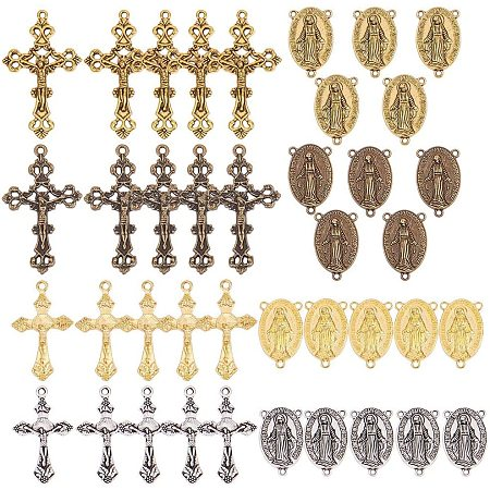 SUNNYCLUE 40PCS 4 Color Tibetan Style Rosary Cross and Center Miraculous Medal with Alloy Cross Pendants and Oval Chandelier Links for Rosary Beads Necklace Making