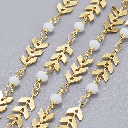 Handmade Brass Cobs Chains, with Faceted Glass Round Beads, Soldered, Long-Lasting Plated, Real 18K Gold Plated, White,Real 18K Gold Plated, 7x6x1.6mm
