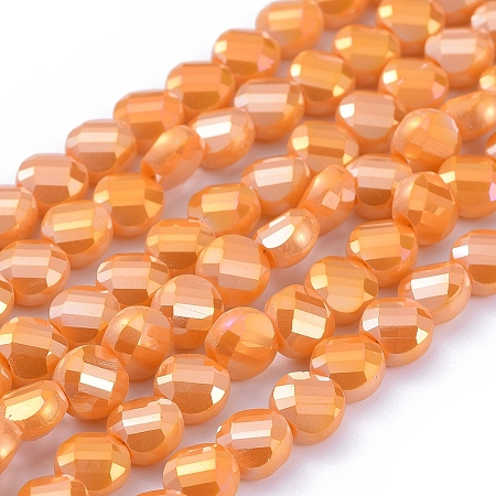 Arricraft Electroplate Glass Beads Strands, Faceted, Flat Round, Full Rainbow Plated, Dark Orange, 6x4mm, Hole: 1.2mm; about 100pcs/Strand, 23.23 inches(59cm)