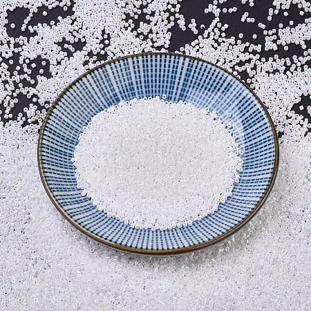 MIYUKI Delica Beads Small, Cylinder, Japanese Seed Beads, 15/0, (DBS0202) White Pearl AB, 1.1x1.3mm, Hole: 0.7mm; about 35000pcs/10g