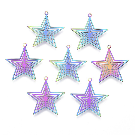 NBEADS Vacuum Plating 201 Stainless Steel Filigree Pendants, Etched Metal Embellishments, Star, Multi-color, 23x22x0.4mm, Hole: 1.2mm
