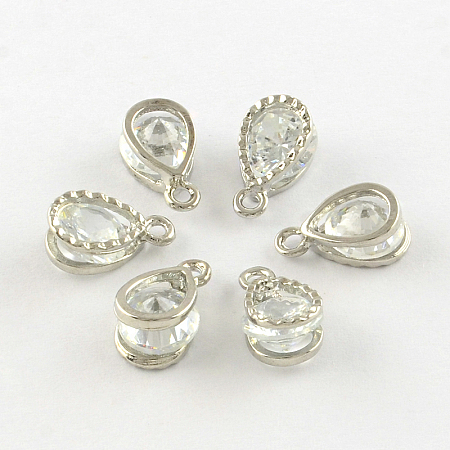 ARRICRAFT About 100 Pcs Cubic Zirconia Alloy Drop Shape Charms Sets for Jewelry Making Size 13x8x6mm Platinum