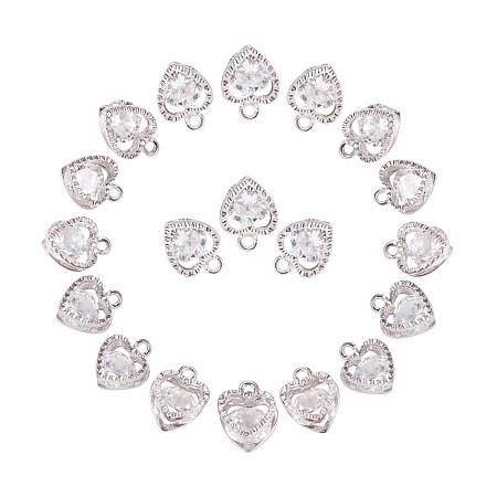 ARRICRAFT 1Bag About 100 Pcs Cubic Zirconia Alloy Heart Shape Charms Sets for Jewelry Making Size 10x8.5x5mm Platinum
