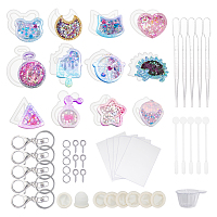 Olycraft DIY Keychain Makings, with Silicone Molds, Alloy Lobster Claw Clasp Keychain, Plastic Stirring Rod, Mixing Dish, Dropper, Silicone Finger Cots, White