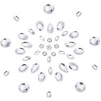 PandaHall Elite 100 pcs 10 Styles Acrylic Sew on Rhinestones, Clear Half Round/Rectangle/Octagon/Oval/Drop/Horse Eye Faceted Flatback Crystal Buttons Gems for Clothing Wedding Dress Decoration