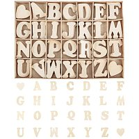 PandaHall 112pcs Wooden Letters and Heart Set- Small Wooden Capital Letters with Storage Tray - Wooden Alphabet Craft Letters Smooth Natural Wooden for Arts Crafts DIY Wedding Display Decor