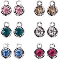 PH PandaHall 60pcs 6 Color Crystal Rhinestone Pendants Charms Beads Silver Tone Rhinestone Dangle Charms for Earrings Bracelet Necklace Jewelry Craft Making