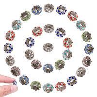ARRICRAFT 50 Pcs Alloy Rhinestone Rondelle European Beads with Large Hole Dangle Charms Sets fit Snake Style Charm Bracelets Antique Silver