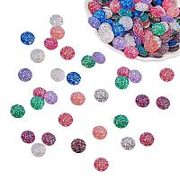 PandaHall Elite 200pcs 10 Colors 12mm Faux Druzy Resin Cabochons Flat Back Dome Cabochons Cameo for Photo Bezel Tray Setting Pendant Charms Making