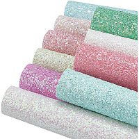 """BENECREAT 10pcs 7.8x6"""" Glitter Fabric Faux PU Leather Fabric with Glitter Powder for DIY Crafts Sewing Making Bows Earrings, Mixed Color"""
