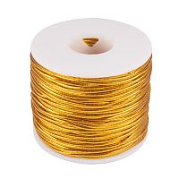 PandaHall Elite 2mm 50m/ 54 Yards Metallic Tinsel Elastic Cord Polyester Ribbon Stretch Cord Jewelry Making Gift Wrap Ribbon, Gold