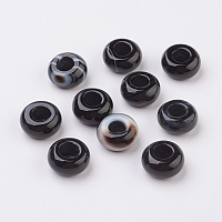 Randomly Mixed Natural Black Agate and Banded Agate European Beads, Large Hole Beads, Rondelle, Dyed, 14x8mm, Hole: 6mm