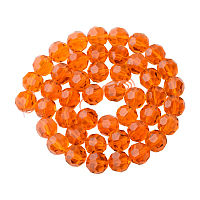PandaHall Elite Faceted Round Imitation Austrian Crystal Bead Strands, Grade AAA, Orange, 8mm, Hole: 1mm; about 50pcs/strand, 15.7""