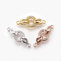 Brass Micro Pave Cubic Zirconia Fold Over Clasps, Oval, Clear, Mixed Color, 25.5mm, Hole: 1.2mm