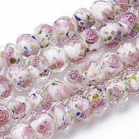 Pandahall Elite 60pcs 8~10mm Gold Sand Lampwork Beads Glass Handmade Round Loose Beads for Jewelry Craft Making with 2mm Hole