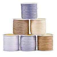 PandaHall Elite 6 Colors 0.8mm Nylon Beading String Knotting Cord, Chinese Knotting Cord Nylon Shamballa Macrame Thread Beading Cord, 100 Yard (91m) / roll