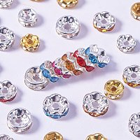 NBEADS 500pcs 5mm-8mm Mixed Color Brass Czech Crystal Round Wavy Rondelle Spacer Beads Charms for Jewelry Making