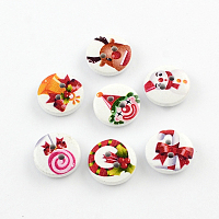 Arricraft 2-Hole Printed Wooden Buttons for Christmas, Flat Round, Mixed Color, 15x4mm, Hole: 2mm