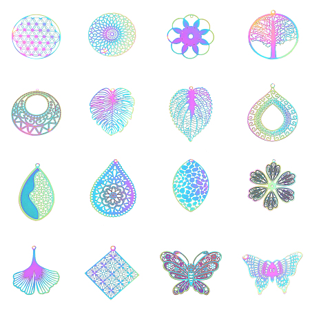 Unicraftale 201 Stainless Steel Filigree Pendants, Etched Metal Embellishments, Mixed Shapes, Multi-color, 74x72x17mm; 32pcs/box