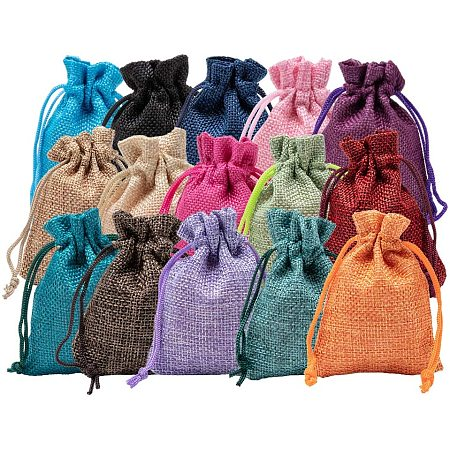 BENECREAT 30Pack 15 Color Small Burlap Bags with Drawstring Gift Bags Jewelry Pouch for Valentine's Day, Wedding Party and DIY Craft Packing, 3.5 x 2.7 Inch
