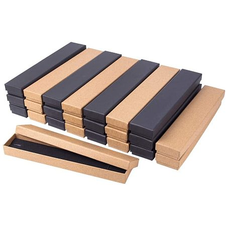 BENECREAT 24 Pack 8.2x1.5x0.8 Kraft Cardboard Jewelry Boxes Brown and Black Necklace Box for Jewelry Set Display and Storage