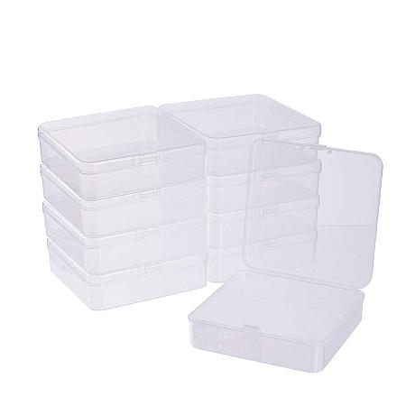 BENECREAT 10 Pack 3.74x3.74x1.18 Square Clear Plastic Bead Storage Containers Box Case with lid for Crafts, Beads, Coins, Jewelry and Watch Findings