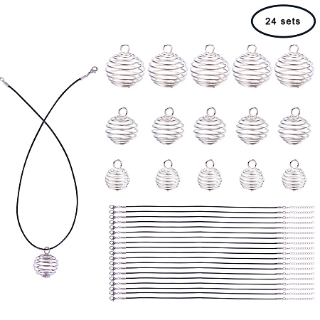 PandaHall Elite 24 Pcs Iron Spiral Bead Cages Pendants 3 Styles with 24 Strands Wax Cotton Necklace Cord 17 Inches for Jewelry Making