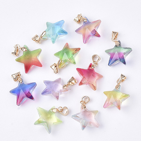 NBEADS Rainbow K9 Glass Pendants, with Brass Findings, Faceted, Star, Golden, Mixed Color, 15.5x16.5x8mm, Hole: 4x3.5mm