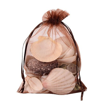 ARRICRAFT 100 PCS 5x7 inch Chocolate Organza Drawstring Bags Party Wedding Favor Gift Bags