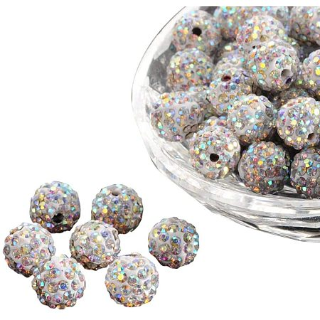 Arricraft About 100 Pcs 10mm Clay Pave Disco Ball Czech Crystal Rhinestone Shamballa Beads Charm Round Spacer Bead for Jewelry Making, Crystal AB